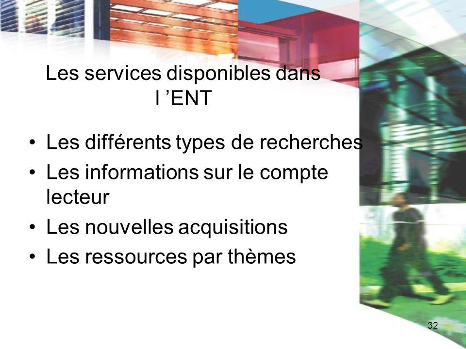 32 Les services disponibles dans l ENT Les différents types de recherches Les informations sur le compte lecteur Les nouvelles acquisitions Les ressou