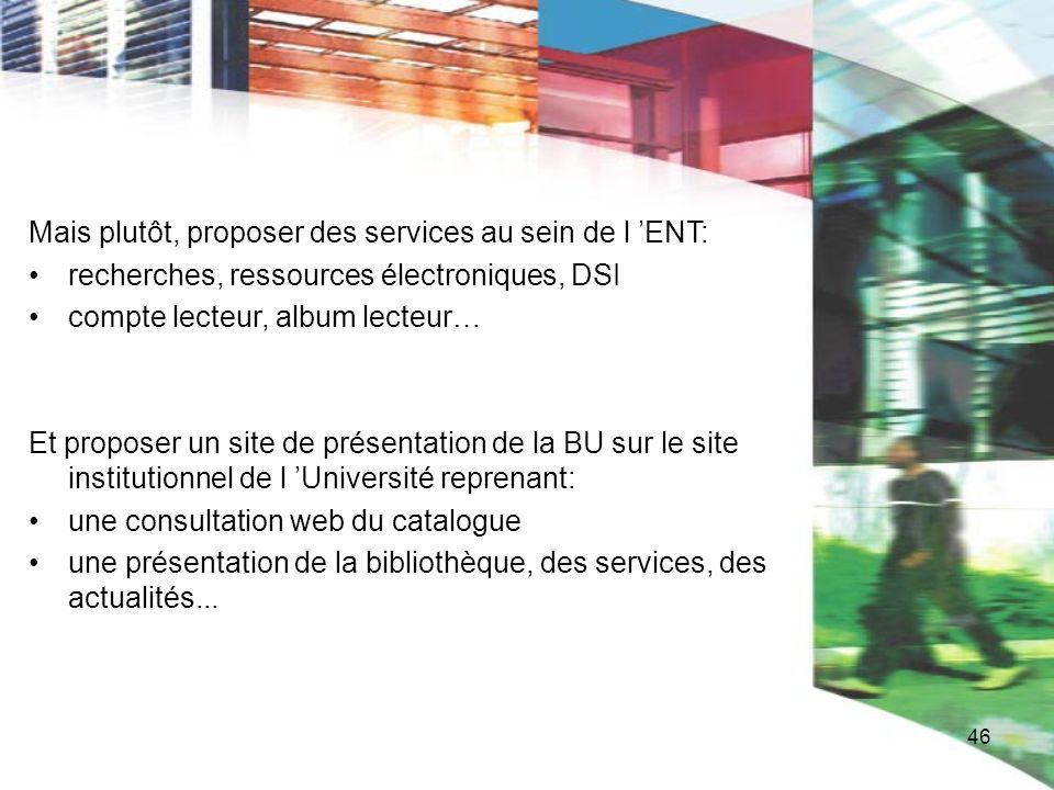 46 Mais plutôt, proposer des services au sein de l ENT: recherches, ressources électroniques, DSI compte lecteur, album lecteur… Et proposer un site d