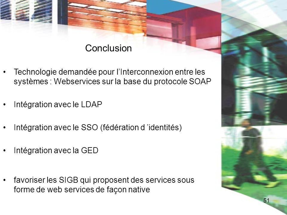 51 Conclusion Technologie demandée pour lInterconnexion entre les systèmes : Webservices sur la base du protocole SOAP Intégration avec le LDAP Intégr