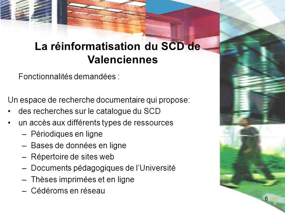 6 La réinformatisation du SCD de Valenciennes Fonctionnalités demandées : Un espace de recherche documentaire qui propose: des recherches sur le catal