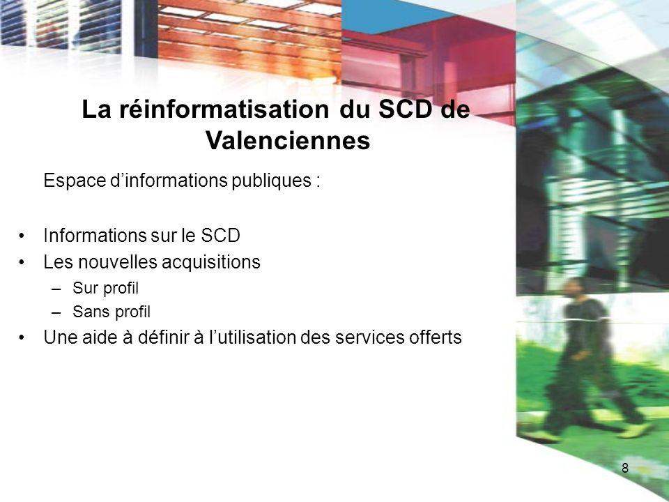 8 La réinformatisation du SCD de Valenciennes Espace dinformations publiques : Informations sur le SCD Les nouvelles acquisitions –Sur profil –Sans pr