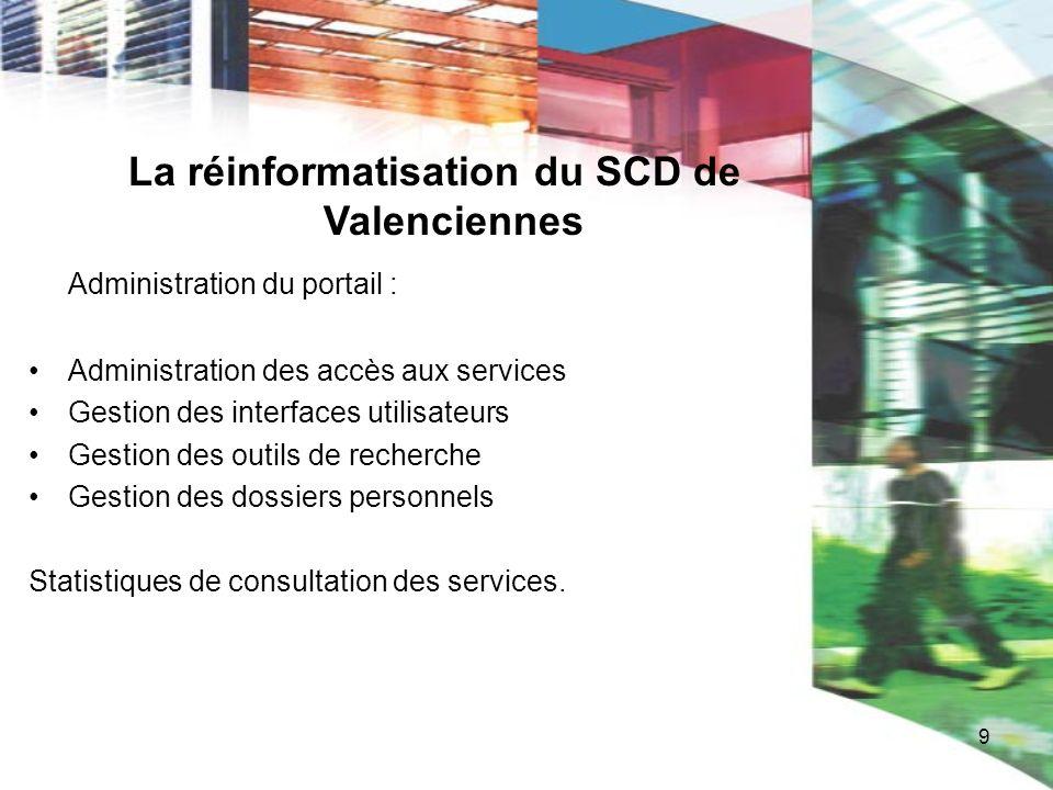 9 La réinformatisation du SCD de Valenciennes Administration du portail : Administration des accès aux services Gestion des interfaces utilisateurs Ge