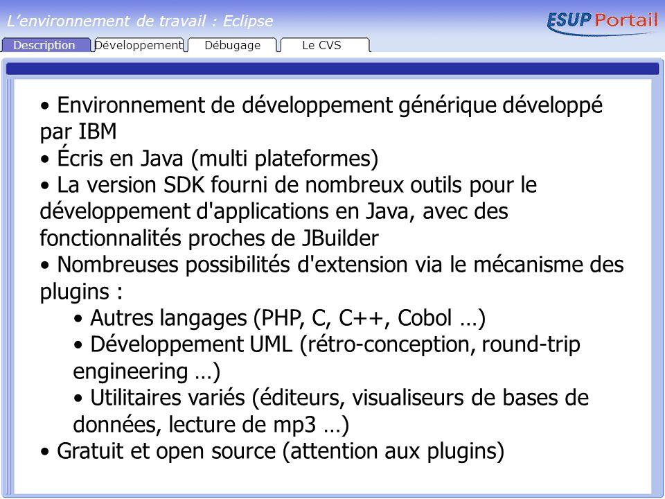 Description Environnement de développement générique développé par IBM Écris en Java (multi plateformes) La version SDK fourni de nombreux outils pour le développement d applications en Java, avec des fonctionnalités proches de JBuilder Nombreuses possibilités d extension via le mécanisme des plugins : Autres langages (PHP, C, C++, Cobol …) Développement UML (rétro-conception, round-trip engineering …) Utilitaires variés (éditeurs, visualiseurs de bases de données, lecture de mp3 …) Gratuit et open source (attention aux plugins) Lenvironnement de travail : Eclipse DéveloppementDébugageLe CVS