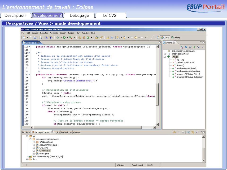 Perspectives / Vues > mode développement Lenvironnement de travail : Eclipse DescriptionDéveloppementDébugageLe CVS