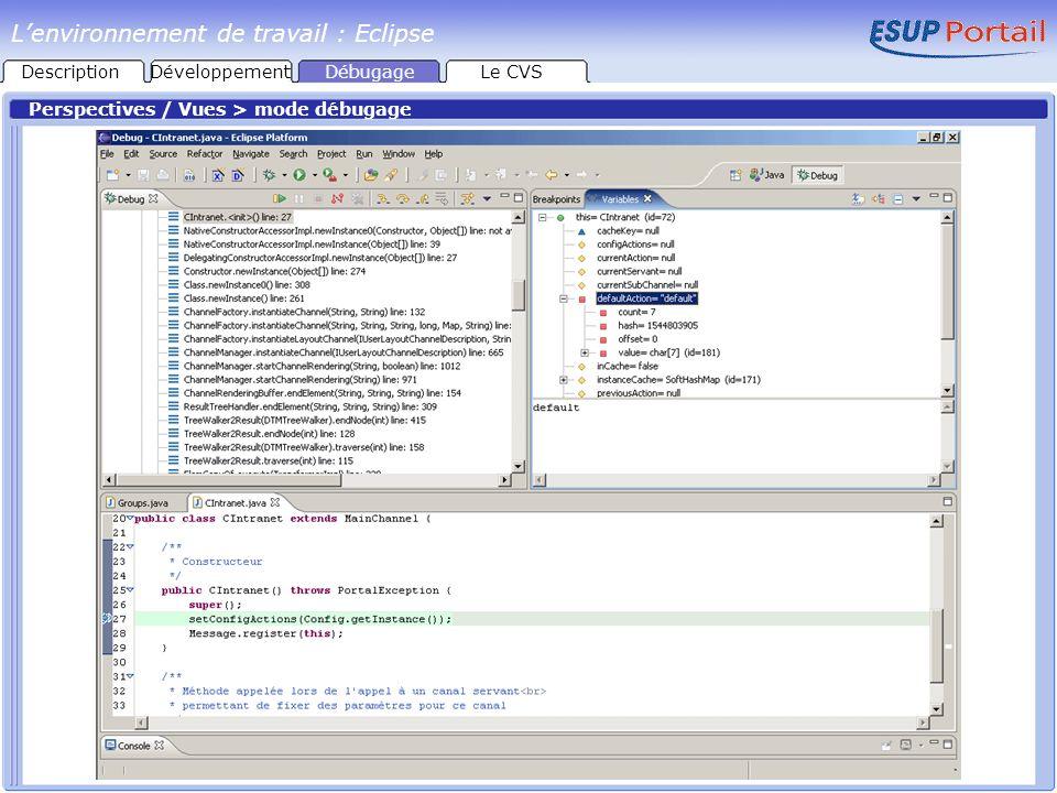 Perspectives / Vues > mode débugage Lenvironnement de travail : Eclipse DescriptionDéveloppementDébugageLe CVS