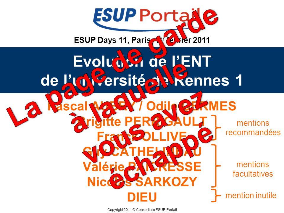 Copyright 2011 © Consortium ESUP-Portail ESUP Days 11, Paris, 1 er février 2011 Evolution de lENT de luniversité de Rennes 1 Pascal AUBRY / Odile GERM