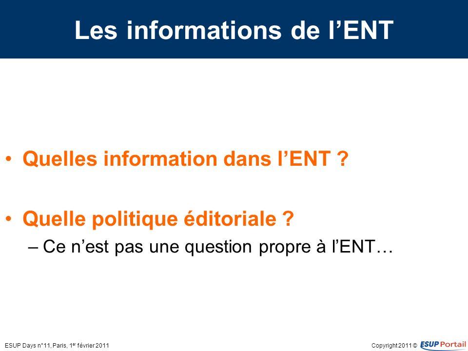 Copyright 2011 © Les informations de lENT Quelles information dans lENT ? Quelle politique éditoriale ? –Ce nest pas une question propre à lENT… ESUP
