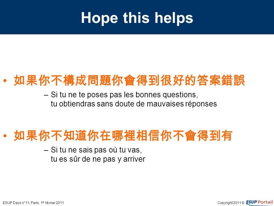 Copyright 2011 © Hope this helps –Si tu ne te poses pas les bonnes questions, tu obtiendras sans doute de mauvaises réponses –Si tu ne sais pas où tu