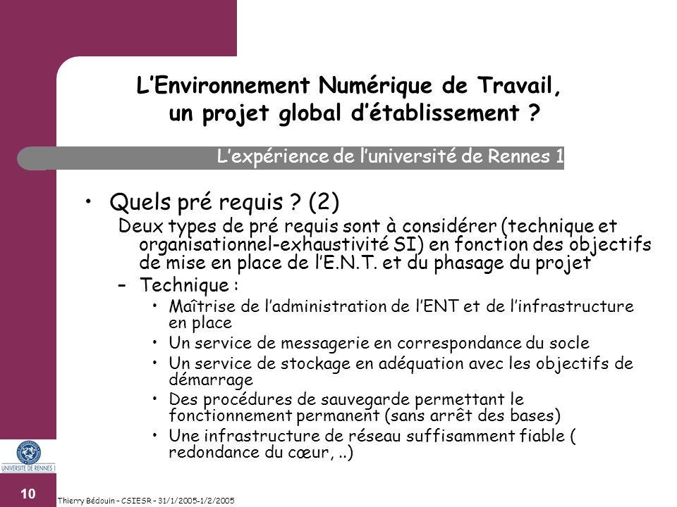 10 Thierry Bédouin – CSIESR – 31/1/2005-1/2/2005 Quels pré requis .