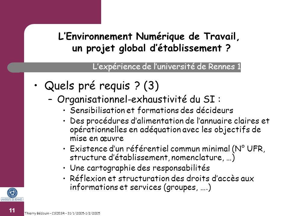 11 Thierry Bédouin – CSIESR – 31/1/2005-1/2/2005 Quels pré requis .