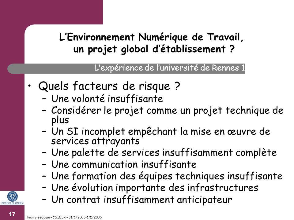 17 Thierry Bédouin – CSIESR – 31/1/2005-1/2/2005 Quels facteurs de risque .