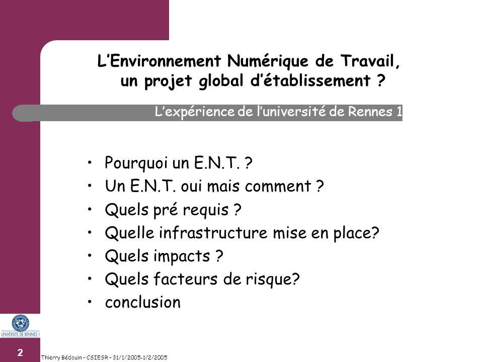 2 Thierry Bédouin – CSIESR – 31/1/2005-1/2/2005 Pourquoi un E.N.T.