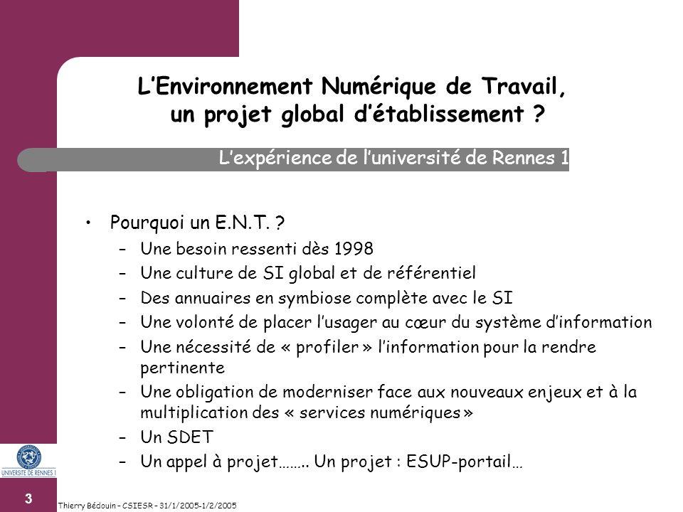 3 Thierry Bédouin – CSIESR – 31/1/2005-1/2/2005 Pourquoi un E.N.T.
