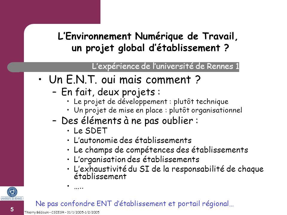 6 Thierry Bédouin – CSIESR – 31/1/2005-1/2/2005 Un E.N.T.