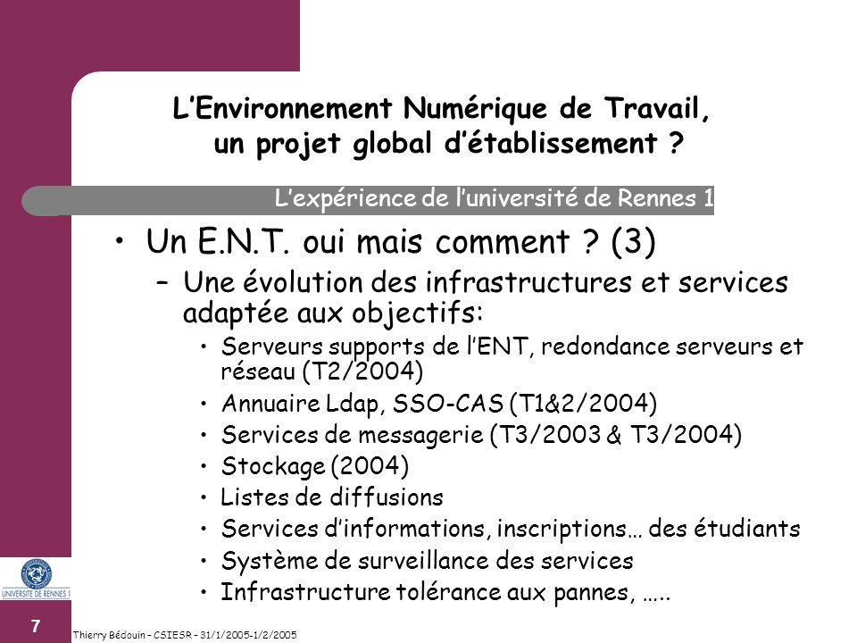 8 Thierry Bédouin – CSIESR – 31/1/2005-1/2/2005 Un E.N.T.