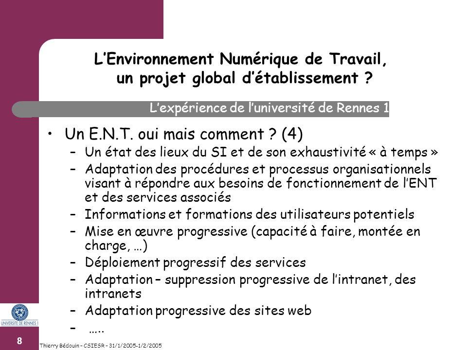 9 Thierry Bédouin – CSIESR – 31/1/2005-1/2/2005 Quels pré requis .
