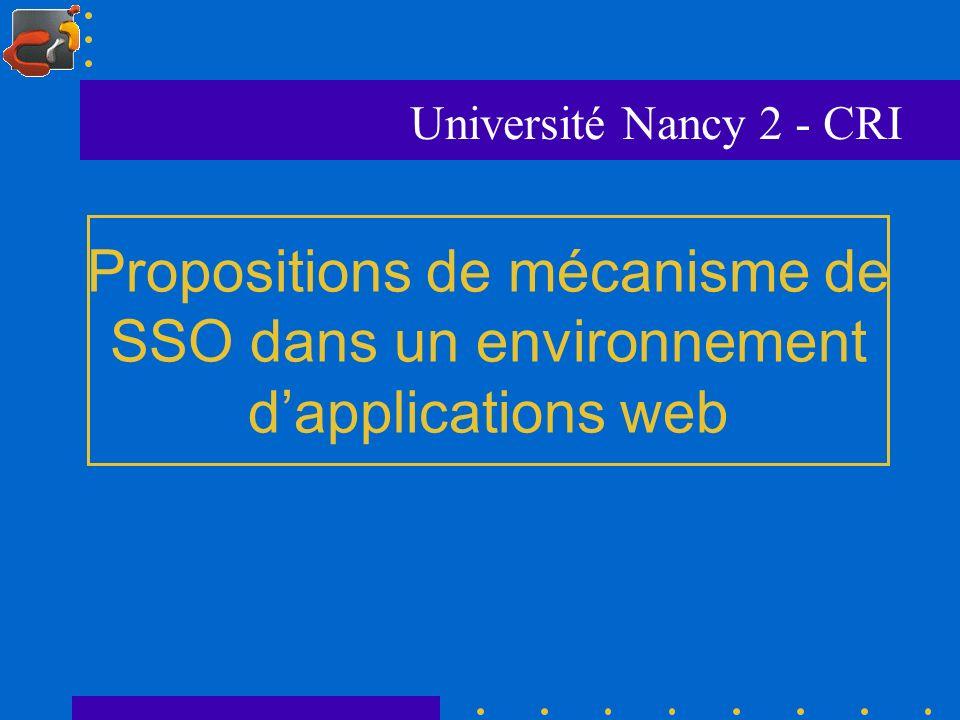 Propositions de mécanisme de SSO dans un environnement dapplications web Université Nancy 2 - CRI