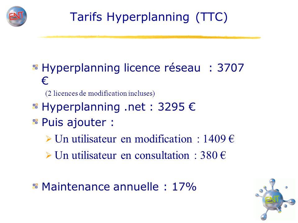 Tarifs Hyperplanning (TTC) Hyperplanning licence réseau : 3707 (2 licences de modification incluses) Hyperplanning.net : 3295 Puis ajouter : Un utilisateur en modification : 1409 Un utilisateur en consultation : 380 Maintenance annuelle : 17%