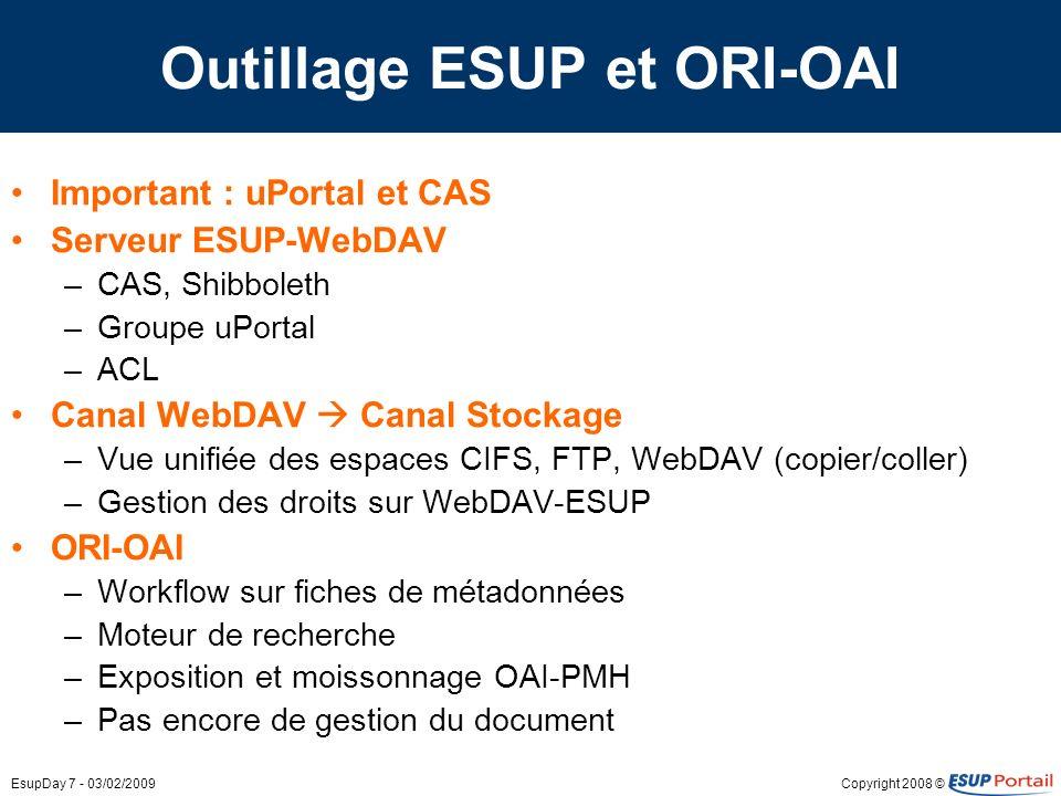 Copyright 2008 ©EsupDay 7 - 03/02/2009 Outillage ESUP et ORI-OAI Important : uPortal et CAS Serveur ESUP-WebDAV –CAS, Shibboleth –Groupe uPortal –ACL