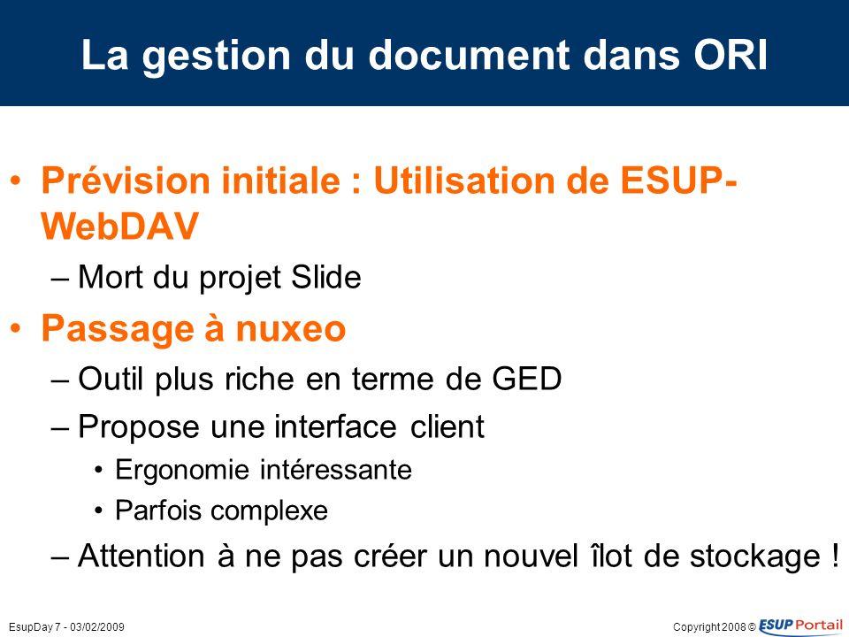 Copyright 2008 ©EsupDay 7 - 03/02/2009 La gestion du document dans ORI Prévision initiale : Utilisation de ESUP- WebDAV –Mort du projet Slide Passage