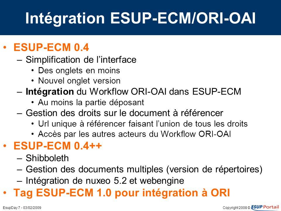 Copyright 2008 ©EsupDay 7 - 03/02/2009 Intégration ESUP-ECM/ORI-OAI ESUP-ECM 0.4 –Simplification de linterface Des onglets en moins Nouvel onglet vers