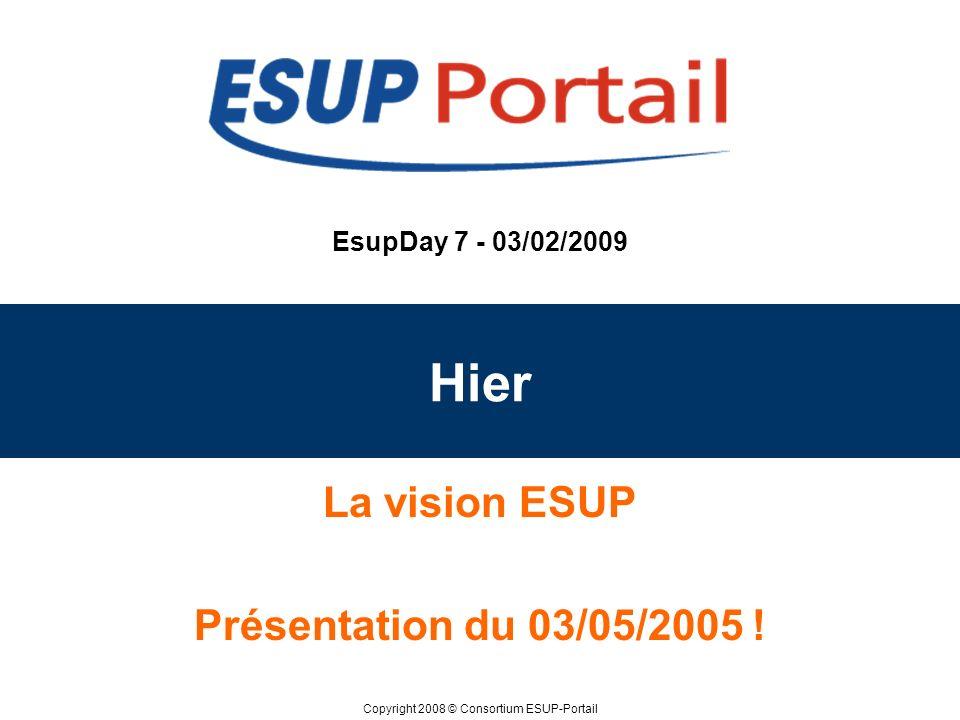 Copyright 2008 © Consortium ESUP-Portail EsupDay 7 - 03/02/2009 Hier La vision ESUP Présentation du 03/05/2005 !