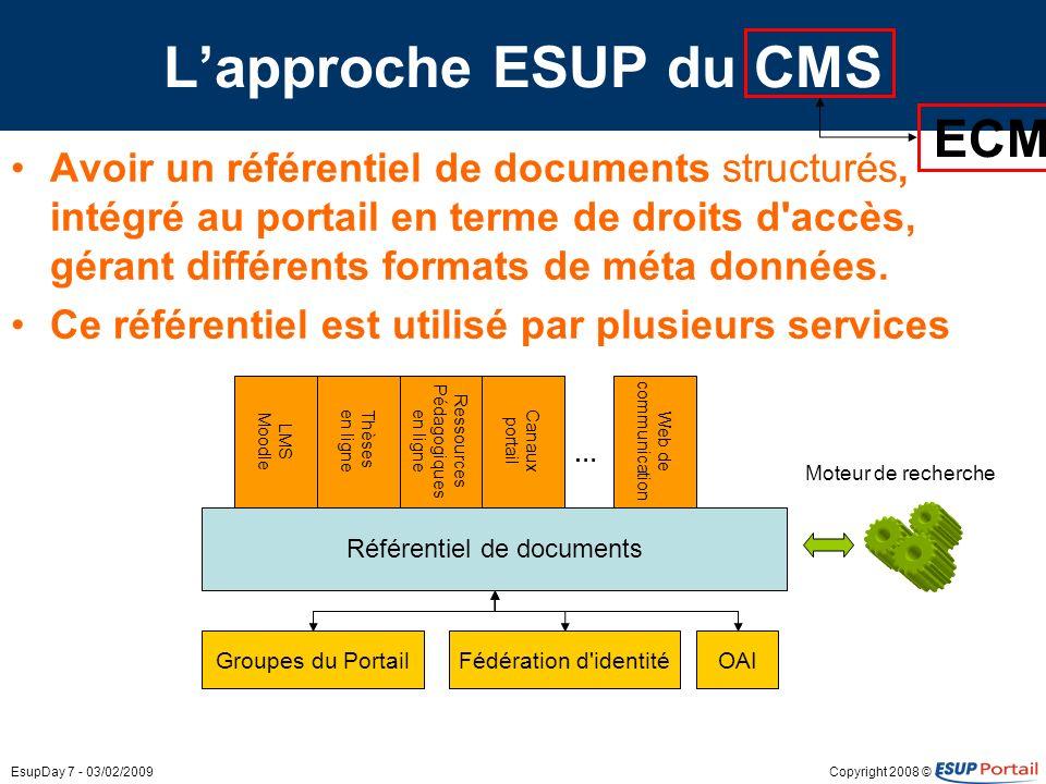 Copyright 2008 ©EsupDay 7 - 03/02/2009 Lapproche ESUP du CMS Avoir un référentiel de documents structurés, intégré au portail en terme de droits d'acc
