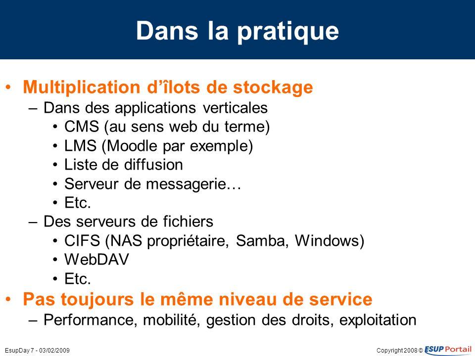 Copyright 2008 ©EsupDay 7 - 03/02/2009 Dans la pratique Multiplication dîlots de stockage –Dans des applications verticales CMS (au sens web du terme)