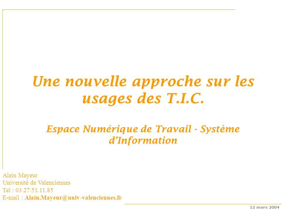Espaces numériques de travail 12 mars 2004 Une nouvelle approche sur les usages des T.I.C.