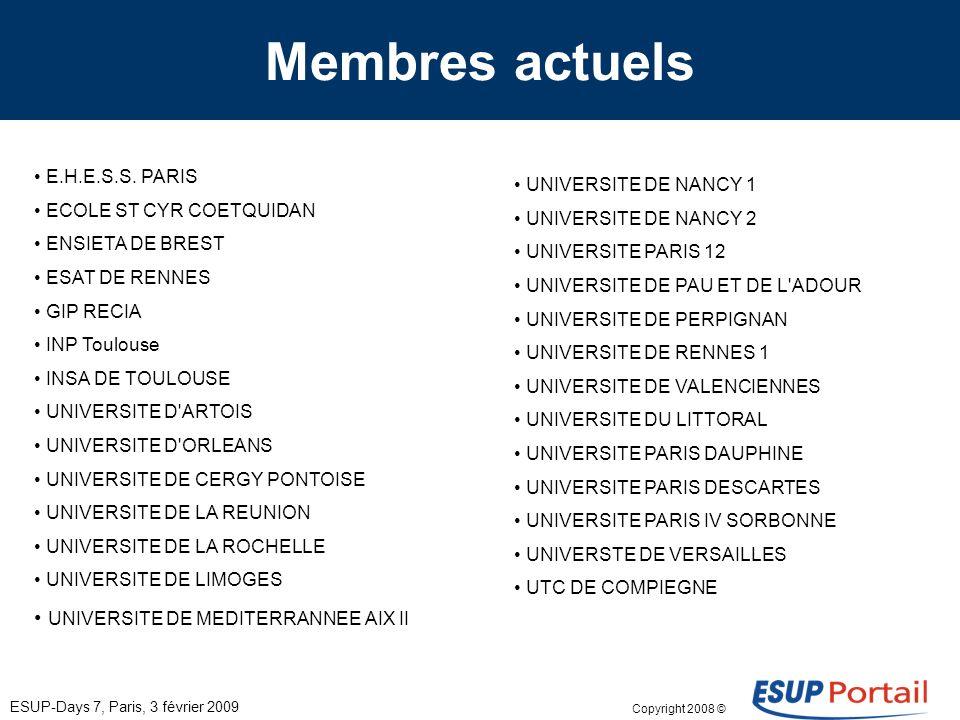 Copyright 2008 © ESUP-Days 7, Paris, 3 février 2009 Démarche dadhésion Site www.esup-portail.org Entrée « membres adhérents » –Formulaire dadhésion –Document explicatif –Liste des membres