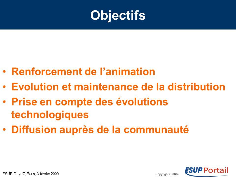 Copyright 2008 © ESUP-Days 7, Paris, 3 février 2009 Objectifs Renforcement de lanimation Evolution et maintenance de la distribution Prise en compte des évolutions technologiques Diffusion auprès de la communauté