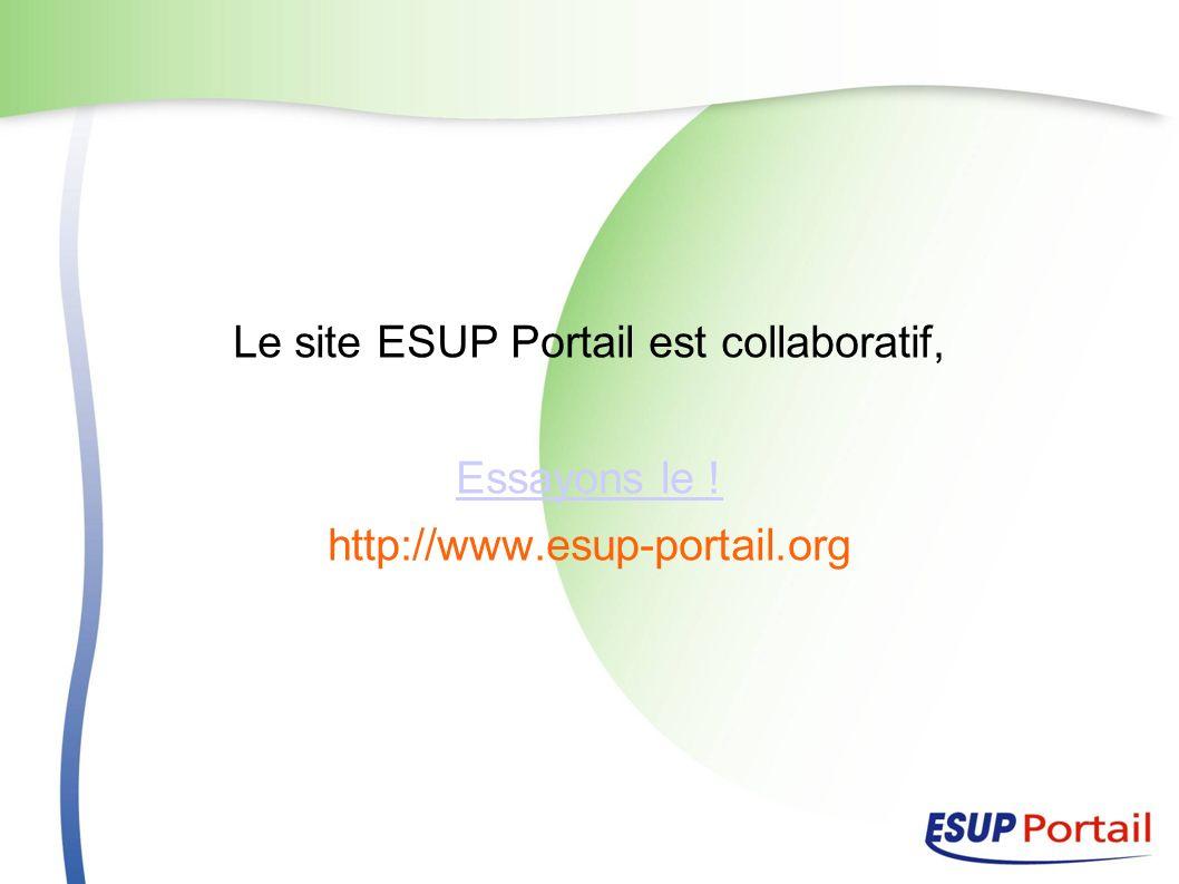 Le site ESUP Portail est collaboratif, Essayons le ! http://www.esup-portail.org