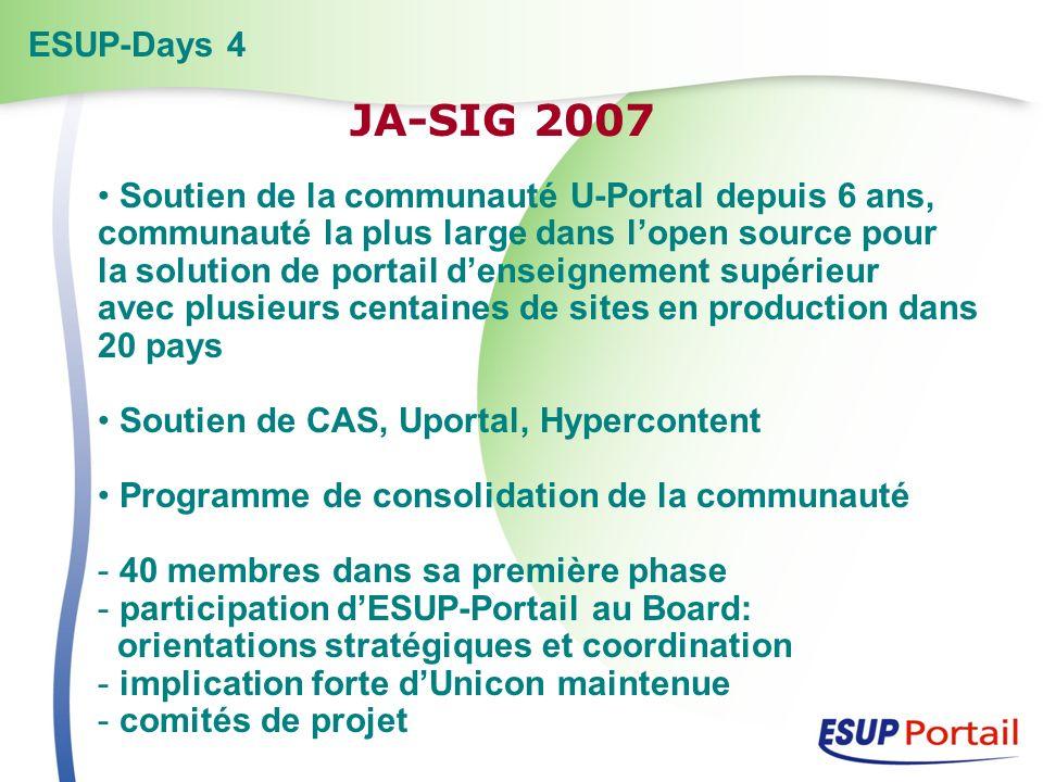 Soutien de la communauté U-Portal depuis 6 ans, communauté la plus large dans lopen source pour la solution de portail denseignement supérieur avec pl