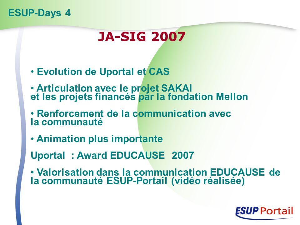 Evolution de Uportal et CAS Articulation avec le projet SAKAI et les projets financés par la fondation Mellon Renforcement de la communication avec la