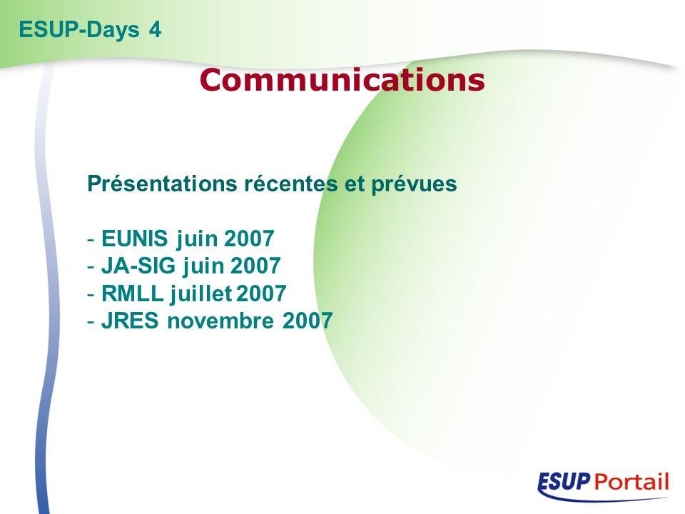 Présentations récentes et prévues - EUNIS juin 2007 - JA-SIG juin 2007 - RMLL juillet 2007 - JRES novembre 2007 ESUP-Days 4 Communications