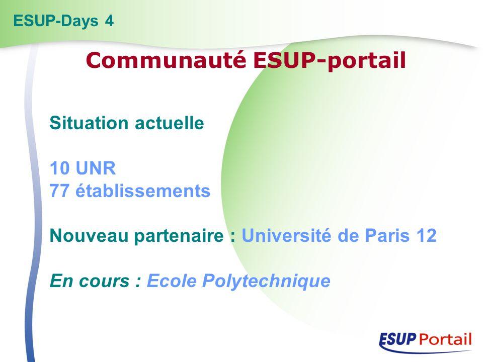 Situation actuelle 10 UNR 77 établissements Nouveau partenaire : Université de Paris 12 En cours : Ecole Polytechnique ESUP-Days 4 Communauté ESUP-por