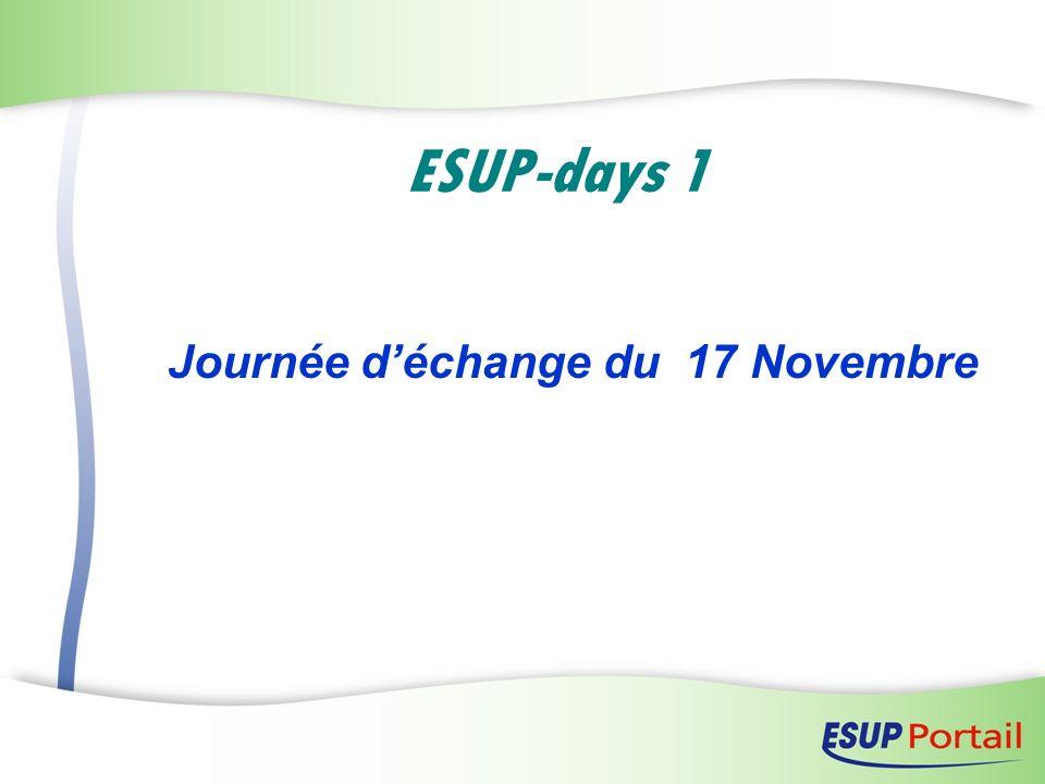 ESUP-days 1 Journée déchange du 17 Novembre
