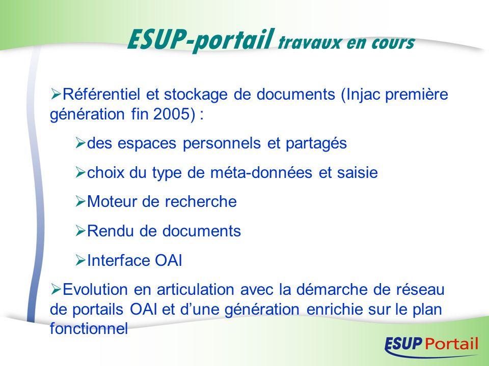 ESUP-portail travaux en cours Référentiel et stockage de documents (Injac première génération fin 2005) : des espaces personnels et partagés choix du