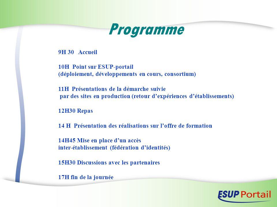 Programme 9H 30 Accueil 10H Point sur ESUP-portail (déploiement, développements en cours, consortium) 11H Présentations de la démarche suivie par des