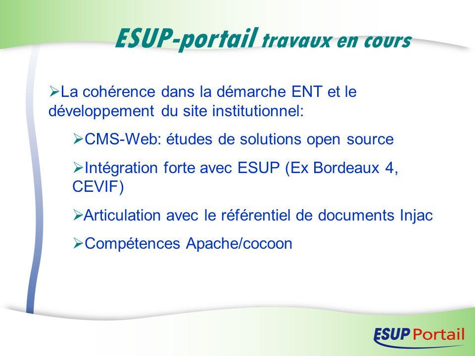 ESUP-portail travaux en cours La cohérence dans la démarche ENT et le développement du site institutionnel: CMS-Web: études de solutions open source I