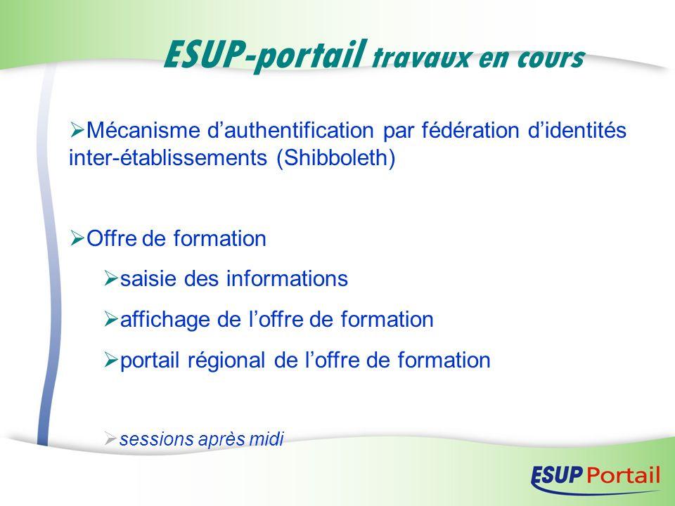ESUP-portail travaux en cours Mécanisme dauthentification par fédération didentités inter-établissements (Shibboleth) Offre de formation saisie des in