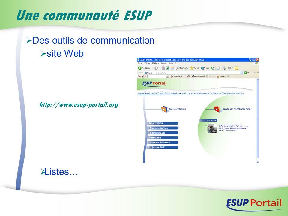 Des outils de communication site Web Listes… Une communauté ESUP http://www.esup-portail.org