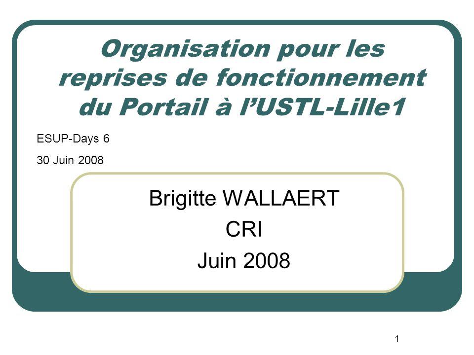 1 Organisation pour les reprises de fonctionnement du Portail à lUSTL-Lille1 Brigitte WALLAERT CRI Juin 2008 ESUP-Days 6 30 Juin 2008