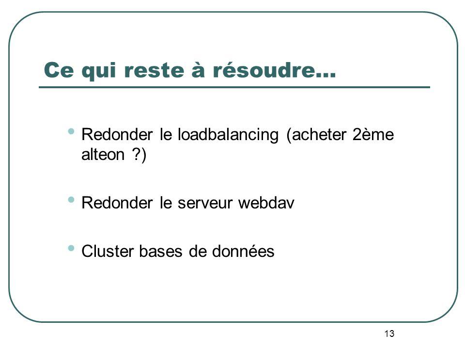 13 Ce qui reste à résoudre… Redonder le loadbalancing (acheter 2ème alteon ) Redonder le serveur webdav Cluster bases de données