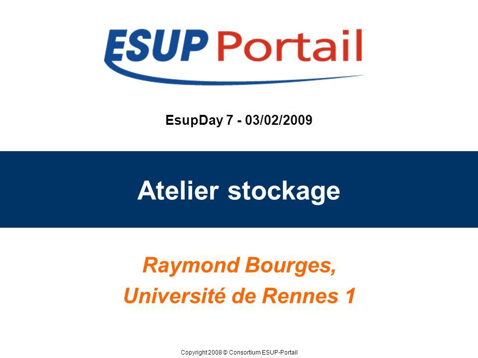 Copyright 2008 © Consortium ESUP-Portail EsupDay 7 - 03/02/2009 Atelier stockage Raymond Bourges, Université de Rennes 1