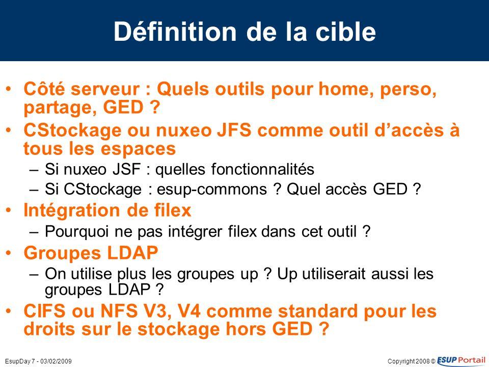 Copyright 2008 ©EsupDay 7 - 03/02/2009 Définition de la cible Côté serveur : Quels outils pour home, perso, partage, GED .