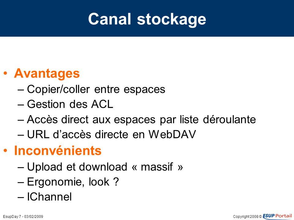 Copyright 2008 ©EsupDay 7 - 03/02/2009 Canal stockage Avantages –Copier/coller entre espaces –Gestion des ACL –Accès direct aux espaces par liste déro