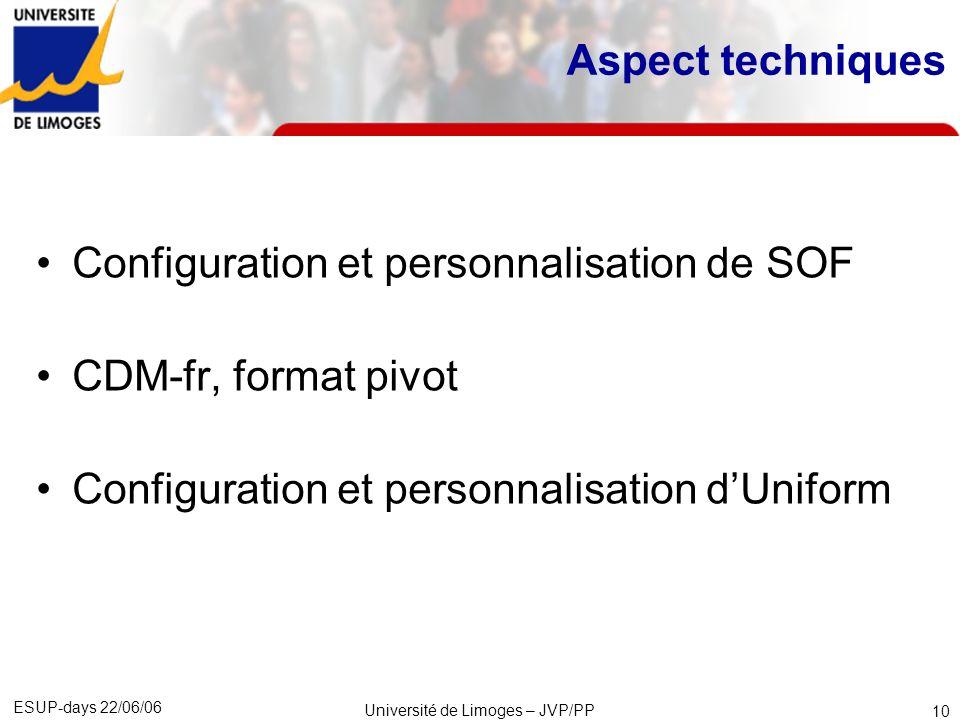 ESUP-days 22/06/06 Université de Limoges – JVP/PP 11 Les différentes catégories dobjets dans SOF 4 catégories permettent de modéliser une offre de formation : 1.Unité organisationnelle (Ex.