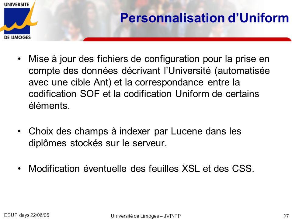 ESUP-days 22/06/06 Université de Limoges – JVP/PP 28 Développements effectués sur Uniform Recherche sur les champs indexés avec les quantificateurs logiques « et » et « ou ».