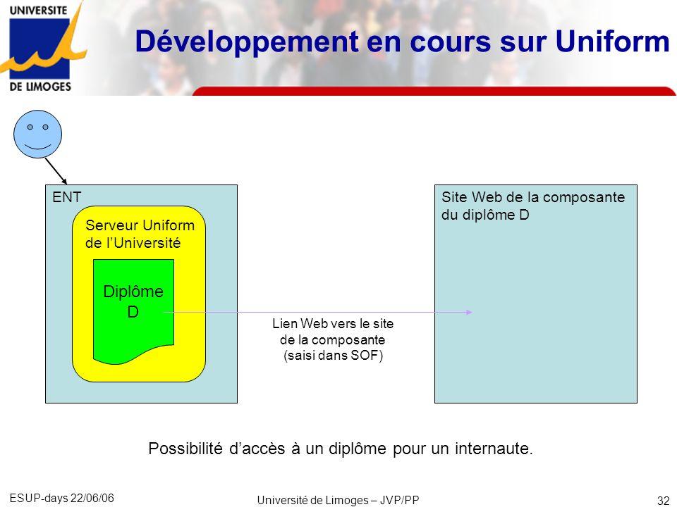 ESUP-days 22/06/06 Université de Limoges – JVP/PP 33 Développement en cours sur Uniform Site Web de la composante du diplôme D Consulter loffre de formation de la composante Serveur Uniform de la composante Diplôme D Possibilité daccès à un diplôme pour un internaute.